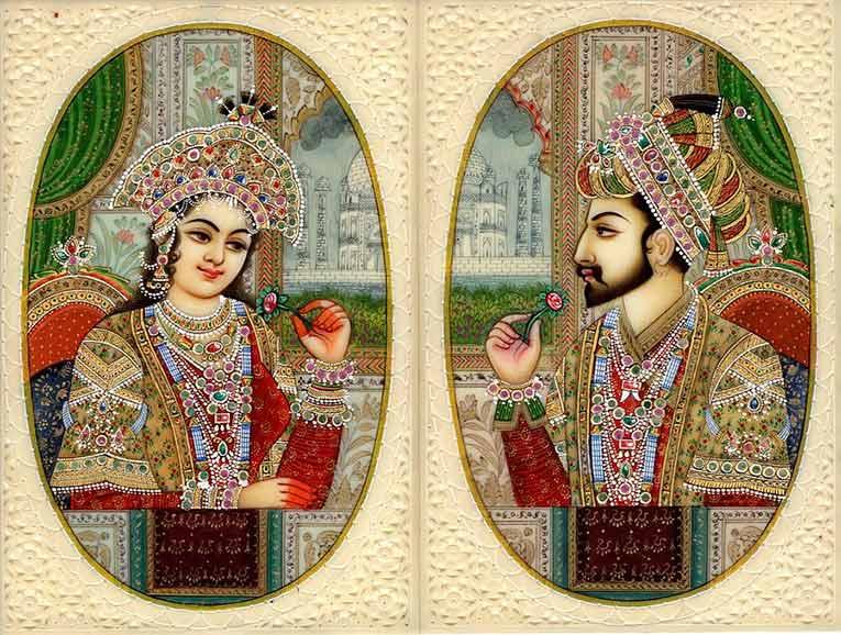 Miniature de Mumtaz Mahal et Shah Jahan